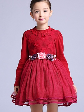 Ericdress Flower Embroidery Pleated Girls Dress