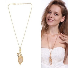 Ericdress Long Golden Leaf Pendant Necklace