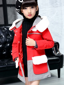 Ericdress Color Block Horn Button Girls Wool Trench Coat