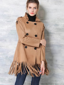 Ericdress Straight Double-Breasted Tassel Coat
