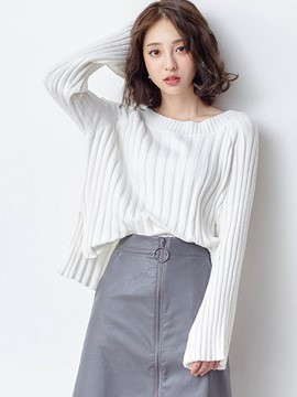 Ericdress Vertical Stripe Loose Plain Knitwear