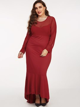 Ericdress Plus-Size Mesh Patchwork Mermaid Maxi Dress