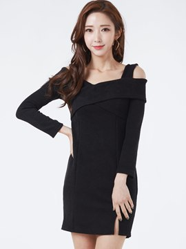Ericdress Sweet V-Neck Dew shoulder Bodycon Dress