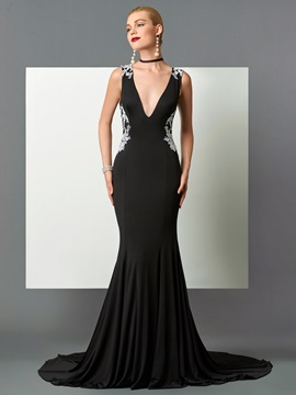 Ericdress Sexy V-Neck Mermaid Appliques Backless Court Train Evening Dress