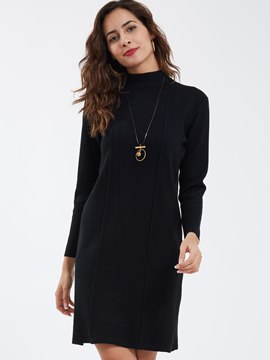 Ericdress Casual Stand Collar Above Knee Sweater Dress