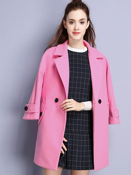 Ericdress Solid Color Two-Button Loose Coat