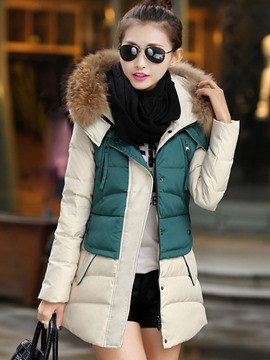 Ericdress Color Block Slim Faux Fur Collar Thick Coat