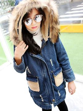 Ericdress Pocket Zipper Denim Girls Trench Coat