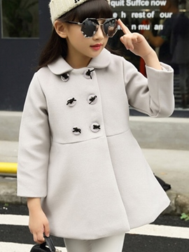 Ericdress Double-Breasted Plain Girls Wool Trench Coat