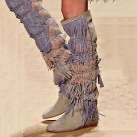 Ericdress Vintage Cowgirl Suede Fringe Knee High Boots