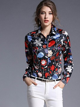 Ericdress Floral Womens Blouse