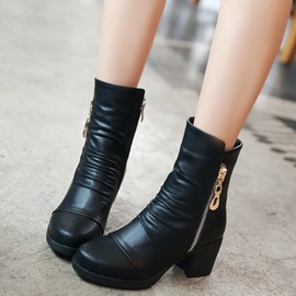 Ericdress Unique Siede Zipper Block Heel Ankle Boots