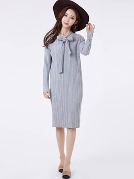 Ericdress Casual Bowtie Neck Pleated Sheath Dress