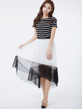 Ericdress Asymmetric Pleated Skirt Suit