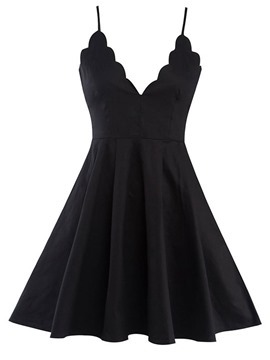 Ericdress Wave Cut V-Neck Spaghetti Strap Pleated Little Black Dress