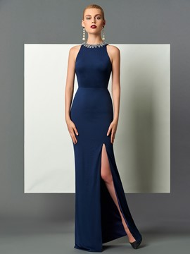 Ericdress Sheath Beaded Scoop Neck Side Slit Floor Length Evening Dress