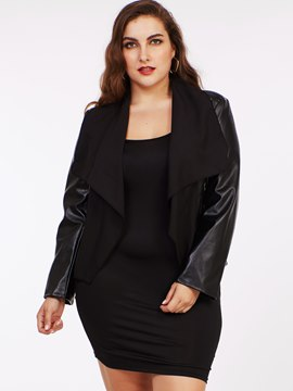 Ericdress Solid Color PU Patchwork Plus Size Jacket