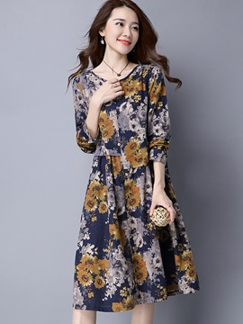 Ericdress Single-Breasted Patchwork Pleated Floral Print Casual Dress