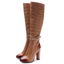 Ericdress Brown Embossed Leather Side Zipper Knee High Boots