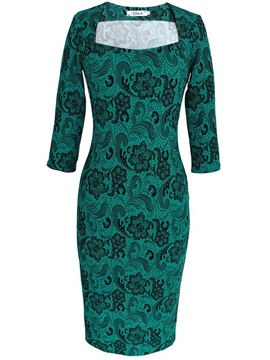 Ericdress Square Neck Lace Floral Print Slim Sheath Dress