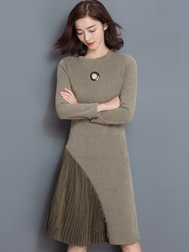 Ericdress Pleated Patchwork Dot Hollow Slim Casual Dress
