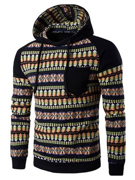 Ericdress Patchwork Ethnic Style Casual Pullover Men's Hoodie