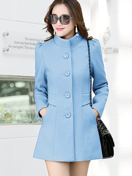 Ericdress Single-Breasted Slim Stand Collar Coat