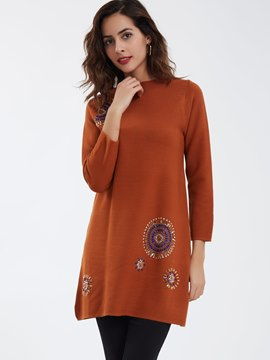 Ericdress Bead Decor Round Neck Sweater Dress
