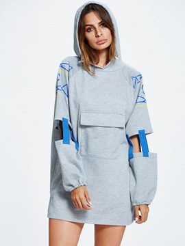 Ericdress Loose Color Block Ripped Hoodie