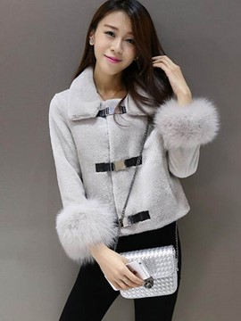 Ericdress Solid Color Faux Fur Patchwork Jacket
