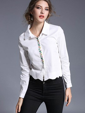 Ericdress White Lapel Irregular Blouse