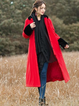 Ericdress Color Block Loose Vintage Coat
