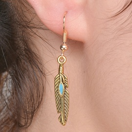 Ericdress Retro Alloy Feather Pendant Earrings