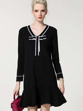 Ericdress Bowknot Patchwork Mermaid Strip Sweater Dress