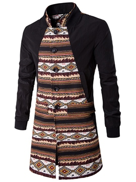 Ericdress Vintage Ethnic Style Patchwork Mid-Length Men's Trench Coat