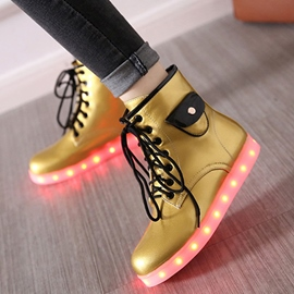 Ericdress Amazing LED Lace up Flat Boots