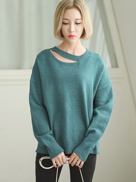 Ericdress Solid Color Cut Detail Pullover Knitwear