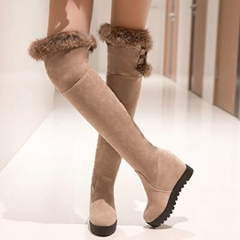 Eicdress Suede Furry Elevator Heel Thigh High Boots