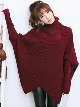 Ericdress Turtle Neck Batwing Sleeve Plain Knitwear