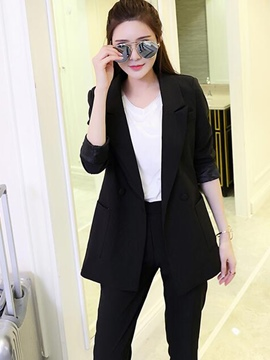 Ericdress Plain Color Notched Lapel Jacket Pants Suit