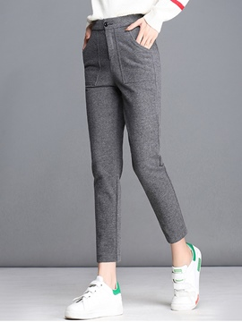 Ericdress Patchwork Pocket Slim Casual Pants