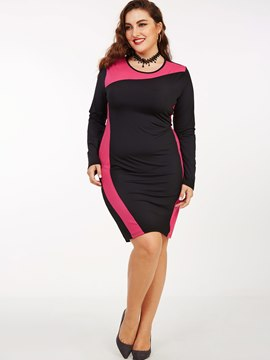 Ericdress Plus-Size Color Block Patchwork Bodycon Dress