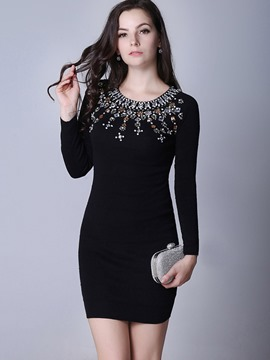 Ericdress Diamond Appliques Solid Color Bodycon Dress