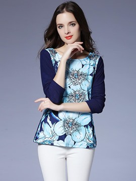 Ericdress Floral Print Three-Quarter T-Shirt