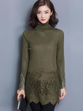Ericdress Lace Patchwork Turtleneck Slim Casual Dress