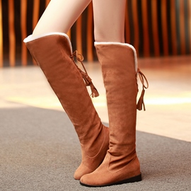 Ericdress Warm Suede Back Tassels Knee High Boots