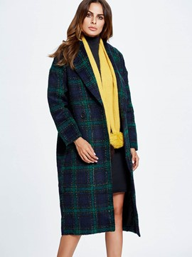 Ericdress European Loose Plaid Coat