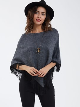 Ericdress Casual Pullover Tassel Decor Cape