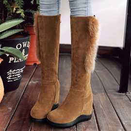 Ericdress Fur Decorated Elevator Heel Thigh High Boots