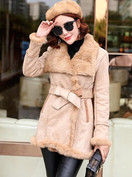 Ericdress Solid Color Belt Faux Fur Collar Thick Coat